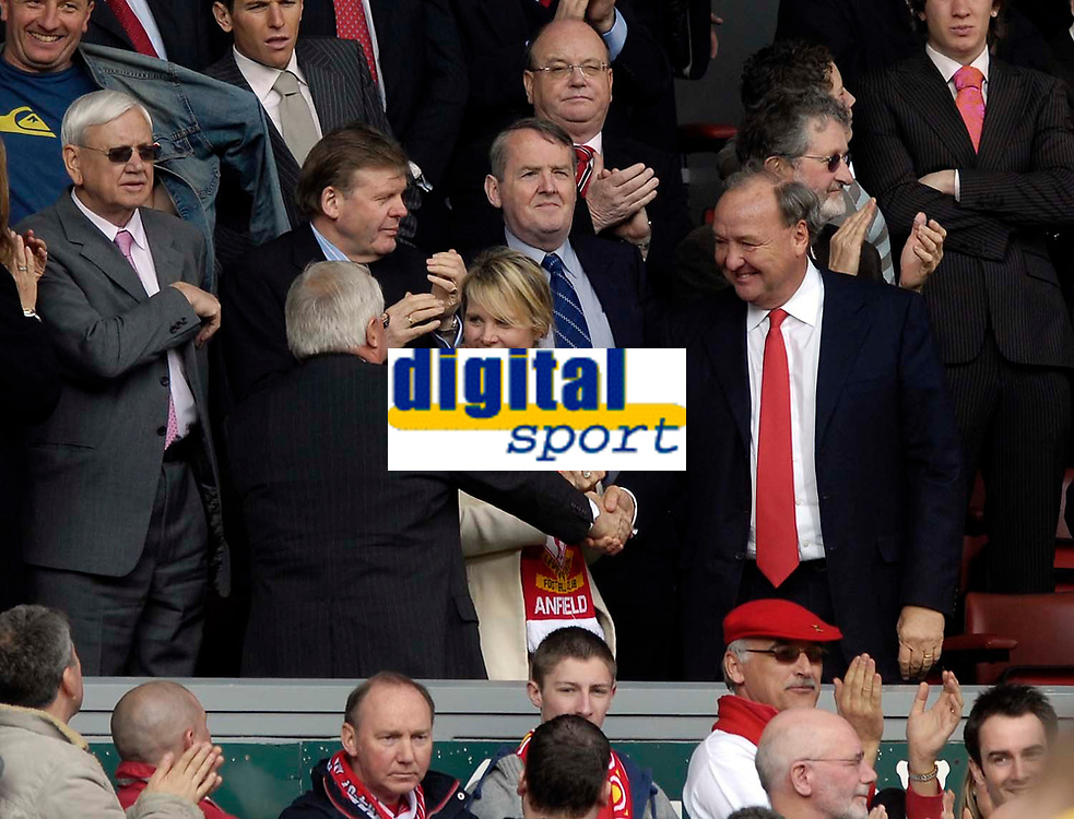 Photo: Jed Wee/Sportsbeat Images.<br /> Liverpool v Arsenal. The Barclays Premiership. 31/03/2007.<br /> <br /> Liverpool's new owners Tom Hicks (R) and George Gillett shake hands at the end of their first game following the completion of their takeover.