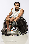 Portrait of wheelchair rugby player chuck aoki.