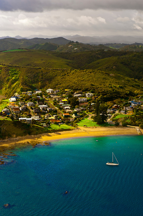 Aerial view of Russell, the Bay of Islands in the Northland region of the north island of New Zealand.