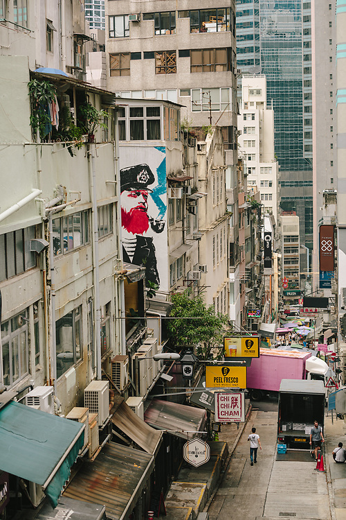 An alley in Central, Hong Kong Island, on October 14, 2019.