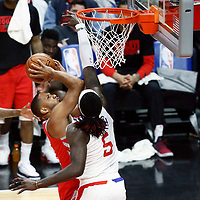 28 February 2018: LA Clippers forward Montrezl Harrell (5) defends on Houston Rockets guard Eric Gordon (10) during the Houston Rockets 105-92 victory over the LA Clippers, at the Staples Center, Los Angeles, California, USA.