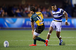 Bath Winger Anthony Watson kicks - mandatory by-line: Rogan Thomson/JMP - Tel: 07966 386802 - 23/05/2014 - SPORT - RUGBY UNION - Cardiff Arms Park, Wales - Bath Rugby v Northampton Saints - Amlin Challenge Cup Final.