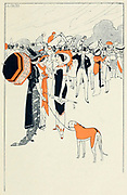 Illustration of a Day at the races from Les ilots d'amour [The Islands of Love] by Sonolet, Louis, 1874-1928 Published in Paris in 1911