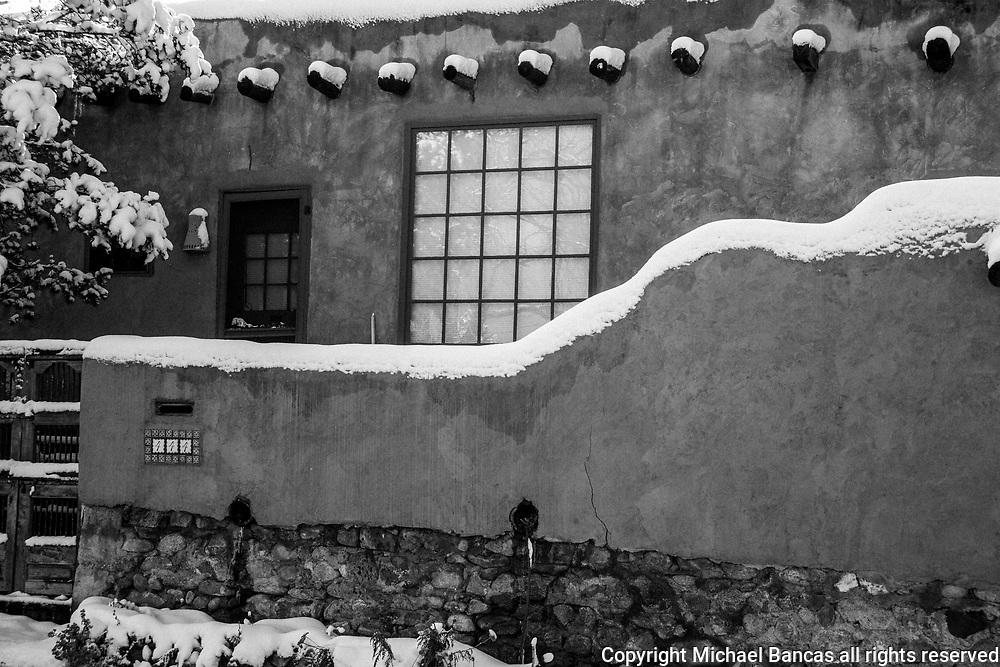 Snow in winter Canyon Rd Santa fe New Mexico