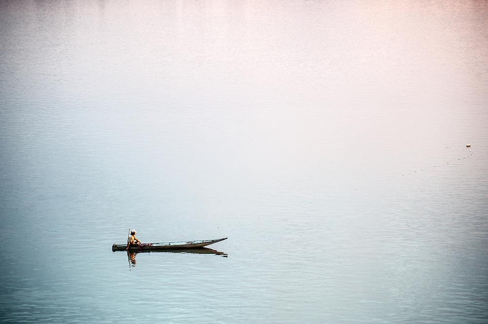 Boatman on the Mekong River, Champasak, Laos