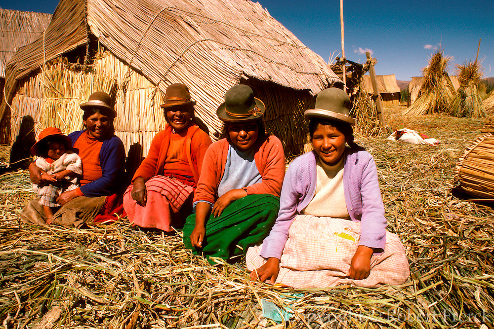 PERU, LAKE TITICACA floating islands of the Uros near Puno;  an ancient culture, noted for making  boats and homes of woven totora reeds