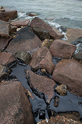 Oil being washed to the shore