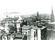 Looking across the rooftops towards New York harbour. From a photograph taken c1893.