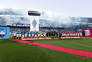 SYDNEY, NSW- NOVEMBER 21: Sydney FC and Adelaide United stand for the national anthem at the FFA Cup Final Soccer between Sydney FC and Adelaide United on November 21, 2017 at Allianz Stadium, Sydney. (Photo by Steven Markham/Icon Sportswire)