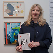 Catherine Morland is an artist attend the Art On The Mind - Private view of an exhibition and auction which benefits homeless charity, Cardboard Citizens.