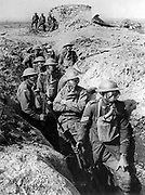 Australian infantry, small box respirators at The First World war Battle of  Ypres 1916