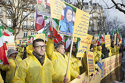 January 3, 2018 - Paris, France - Iranian in Paris demonstrate for supporting protests in Iran, near by Iranian Embassy in Paris on Wednesday January 03, 2018. There have been widespread of demonstrations in Iran for regime change. (Credit Image: © Siavosh Hosseini/NurPhoto via ZUMA Press)