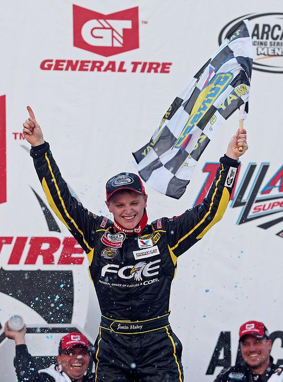 May 6, 2017; Talladega, AL, USA; ARCA Series driver Justin Haley (28) celebrates after winning the General Tire 200 at Talladega Superspeedway. Mandatory Credit: Peter Casey-USA TODAY Sports