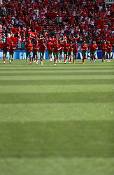 Morocco players warming up before the game