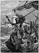 Richard I, Coeur de Lion, (1157-1199) landing at Jaffa (Joppa), September 1191.  Richard,  son of Henry II and Eleanor of Aquitaine, and second  Angevin (Plantagenet) king of England, (1189-1199).   During the Third Crusade (1189-1192) Richard led the crusaders against the great Muslim leader, Saladin.  Richard is reported to have jumped into the water crying 'Cursed for ever be he who follows me not!'  Richard held Jaffa until July 1192  when it fell to Saladin. Richard recaptured it on 31 July, and in September Richard and Saladin signed the Treaty of Jaffa guaranteeing a three-year truce. Wood engraving c1880.