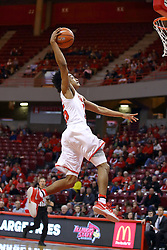 26 November 2016:  Madison Williams(25) throws down a sledge hammer dunk on a run a way during an NCAA  mens basketball game between the Ferris State Bulldogs the Illinois State Redbirds in a non-conference game at Redbird Arena, Normal IL