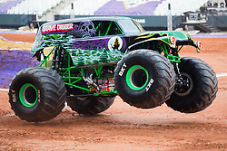 December 16, 2017 - Sao Paulo, Sao Paulo, Brazil - Grave Digger in action during a round of racing. Monster Jam was held at Corinthians Stadium, in Sao Paulo, Brazil. (Credit Image: © Paulo Lopes via ZUMA Wire)