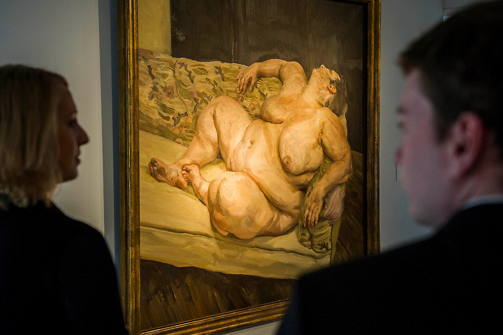 """Lucian Freud, Benefits of Supervisor Resting 1994, est $30-50m. Preview of almost fifty works from Christie's spring sales in New York of Impressionist, Modern, Post-War And Contemporary Art. The most expensive work is Les femmes d'Alger (Version """"O""""), 1955, by Pablo Picasso (1881-1973), estimate $140million. Other highlights include: Pablo Picasso (1881-1973), Femme à la résille, 1938 (est $55 million); Mark Rothko (1903 -1970), No. 36 (Black Stripe), 1958 (est: $30-50 million); Andy Warhol (1928-1987), Colored Mona Lisa, 1963 (est $40 million); Claude Monet (1840-1926), Le Parlement, soleil couchant, 1902 (est: $35-45 million); Jean Dubuffet, Paris Polka, 1961 (est $25 million); Piet Mondrian (1872-1944), Composition No.III (Composition with Red, Blue, Yellow and Black), 1929 (est: $15-25million); and Amedeo Modigliani (1884-1920), Portrait de Béatrice Hastings, 1916 (est $7-10million) from the Collection of John C. Whitehead. The works will be on view to the public from 11 to 16 April at Christie's King Street, London."""