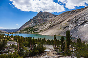 Piute Lake, Piute Pass Trail, in John Muir Wilderness, Inyo National Forest, Mono County, California, USA. Hike to Piute Pass via Loch Leven and Piute Lakes (9.7 miles, 2200 ft gain).