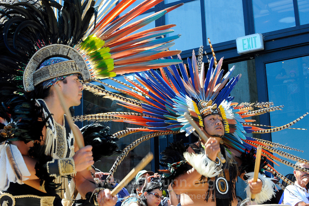 """The powerful rhythms of the """"huehuetl"""" are part of this performance on September 9th, 2012 at Fiesta del Mar at the Monterey Bay Aquarium. By teaching their children traditional dances and conduct, members of the Yaocuauhtli - Eagle Warrior """"calpulli,"""" or group, are preserving a proud ethnic heritage."""