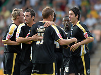 Photo: Ashley Pickering.<br /> Norwich City v Cardiff City. Coca Cola Championship. 01/09/2007.<br /> Peter Whittingham (far R) celebrates scoring the equaliser for Cardiff with team mates
