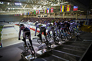 Riders burst out the gate during the mens semi final at the UCI BMX Supercross World Cup in Manchester, UK