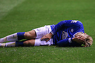 Everton forward Gerard Deulofeu lies injured during the Capital One Cup match between Middlesbrough and Everton at the Riverside Stadium, Middlesbrough, England on 1 December 2015. Photo by Simon Davies.