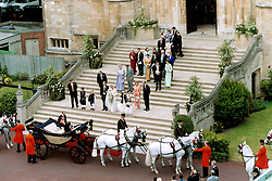Prince Edward and his bride Sophie Rhys-Jones leave St. George's Chapel in Windsor after their wedding.