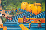 La Paz. Mural presenting the history of Bolivia - here celebrating the recent discovery of natural gas.