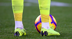 Everton goalkeeper Jordan Pickford with boots which have Get The Rave On written on, during the Premier League match at Turf Moor, Burnley
