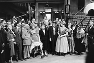 1959. From left to right: Mr Cabot Lodge, his wife, Louis Jordan, Nikita Khrushchev, Shirley MacLaine, Madame Khrushchev, Maurice Chevalier, Frank Sinatra and Juliet Prowse, on the set of Can Can.<br /> <br /> 1959. De gauche à droite : M. Cabot Lodge, son epouse , Louis Jordan , Nikita Khrouchtchev , Shirley MacLaine , Mme Khrouchtchev , Maurice Chevalier , Frank Sinatra et Juliette Prowse , sur le plateau de tournage du film Can Can