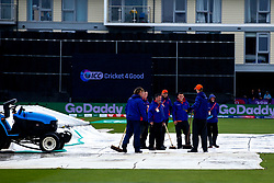 Ground staff try to remove rain water off the pitch as play is delayed ahead of Pakistan v Sri Lanka in the Cricket World Cup group stage - Mandatory by-line: Robbie Stephenson/JMP - 07/06/2019 - CRICKET - County Ground - Bristol , England - Pakistan v Sri Lanka - ICC Cricket World Cup 2019 Group Stage