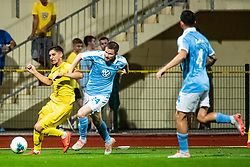 Adam Gnezda Cerin of NK Domzale and Anders Christiansen of Malmo FF during Football match between NK Domzale and Malmo FF in Second Qualifying match of UEFA Europa League 2019/2020, on July 25th, 2019 in Sports park Domzale, Domzale, Slovenia. Photo by Grega Valancic / Sportida