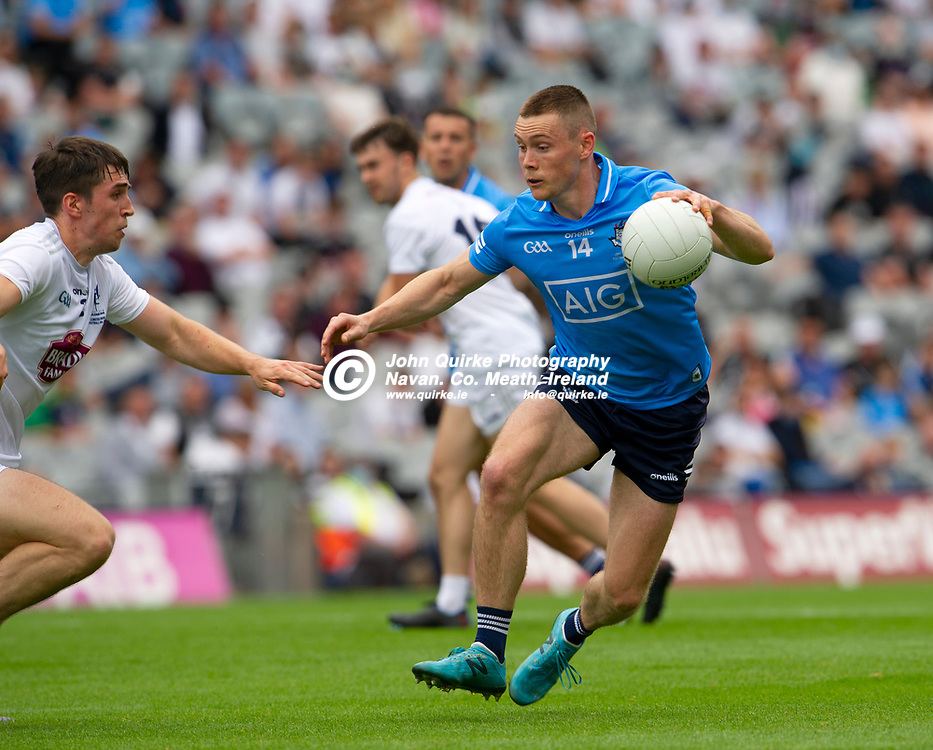 01–08-21.<br /> Dublin v Kildare - Leinster Senior Football Championship Final at Croke Park.<br /> Con O'Callaghan, Dublin in action against Mark Dempsey, Kildare in the Leinster Senior Football Championship Final.<br /> Photo: John Quirke / www.quirke.ie<br /> ©John Quirke Photography, 16 Proudstown Road, Navan. Co. Meath. (info@quirke.ie / 046-9028461 / 087-2579454).