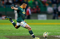 CAPE TOWN, SOUTH AFRICA - JUNE 23: Springbok player Elton Jantjies kicks a penalty at Newlands Stadium on June 23, 2018 in Cape Town, South Africa. (Photo by MB Media/Getty Images)