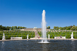 Sanssouci gardens with sculptures in Potsdam Germany