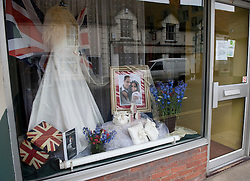 LOCATION, UK  29/04/2011. The Royal Wedding of HRH Prince William to Kate Middleton. ..A wedding dress shop in Wilton shows support for the Royal Wedding.....Photo credit should read Ian Forsyth/LNP. Please see special instructions. © under license to London News Pictures