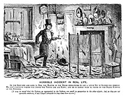 Horrible Incident in Real Life. As the servants are gone to bed, the master of the house endeavours to get a little bit of supper for himself. He can't conceive where the deuce the things are all kept; and he is almost torn to pieces by the black natives of the kitchen. [It may be urged that the natives, as represented in the tableau, are small in proportion to the other objects; but, as they are not agreeable creatures, it was thought advisable to keep them down in size.]