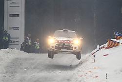 08.02.2014, Hagfors, Karlstad, SWE, FIA, WRC, Schweden Rallye, Tag 4, im Bild Kris Meeke/Paul Nagle (Citroen Total Abu Dhabi WRT/DS3 WRC), Action / Aktion, Jump, Sprung // during Day 4 of the FIA WRC Sweden Rally at the Hagfors in Karlstad, Sweden on 2014/02/08. EXPA Pictures © 2014, PhotoCredit: EXPA/ Eibner-Pressefoto/ Bermel<br /> <br /> *****ATTENTION - OUT of GER*****