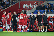 Cardiff city manager Ole Gunnar Solksjaer © tries to lift his players during a break in play.  Skybet football league championship match, Cardiff city v Middlesbrough at the Cardiff city stadium in Cardiff, South Wales on Tuesday 16th Sept 2014<br /> pic by Andrew Orchard, Andrew Orchard sports photography.