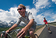 """NEWS&GUIDE PHOTO / PRICE CHAMBERS.Dave Coyne tows skateboarder Lance Downing along the new pathway in Grand Teton National Park on Saturday. """"It's the innaugural tow run of the multi-use bike path,"""" Coyne said. """"Our first descent of Blacktop Coulior."""""""