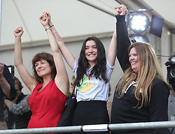 Campaigners (left to right) Tara Flynn, Lucy Watmough and Roisin Ingle celebrate in Dublin Castle as Ireland has voted to repeal the 8th Amendment of the Irish Constitution which prohibits abortions unless a mother's life is in danger.