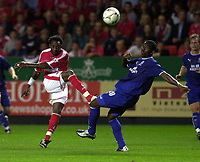 Photo: Greig Cowie.<br /> 26/08/2003.<br /> FA Barclaycard Premiership. Charlton v Everton. The Valley.<br /> Double penalty scorer Jason Euell shoots just over