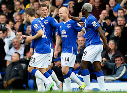 Everton's Steven Naismith celebrates after scoring his sides second goal  - Mandatory byline: Matt McNulty/JMP - 07966386802 - 12/09/2015 - FOOTBALL - Goodison Park -Everton,England - Everton v Chelsea - Barclays Premier League
