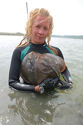 Stephanie Crawford With Thornback Rays