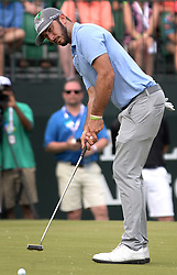 May 4, 2019 - Charlotte, NC, USA - Max Homa watches his putt on the 9th green at Quail Hollow Club in Charlotte, N.C., during third-round action of the Wells Fargo Championship on Saturday, May 4, 2019. (Credit Image: © TNS via ZUMA Wire)