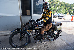 Yoshimasa Niimi of Japan on the Chabott Engineering - Shinya Kimura 1915 Indian during the Motorcycle Cannonball Race of the Century. Stage-1 from Atlantic City, NJ to York, PA. USA. Saturday September 10, 2016. Photography ©2016 Michael Lichter.