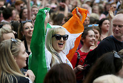Members of the public gather at Dublin Castle for the results of the referendum on the 8th Amendment of the Irish Constitution which prohibits abortions unless a mother's life is in danger. Picture date: Saturday May 26, 2018. See PA story IRISH Abortion. Photo credit should read: Brian Lawless/PA Wire
