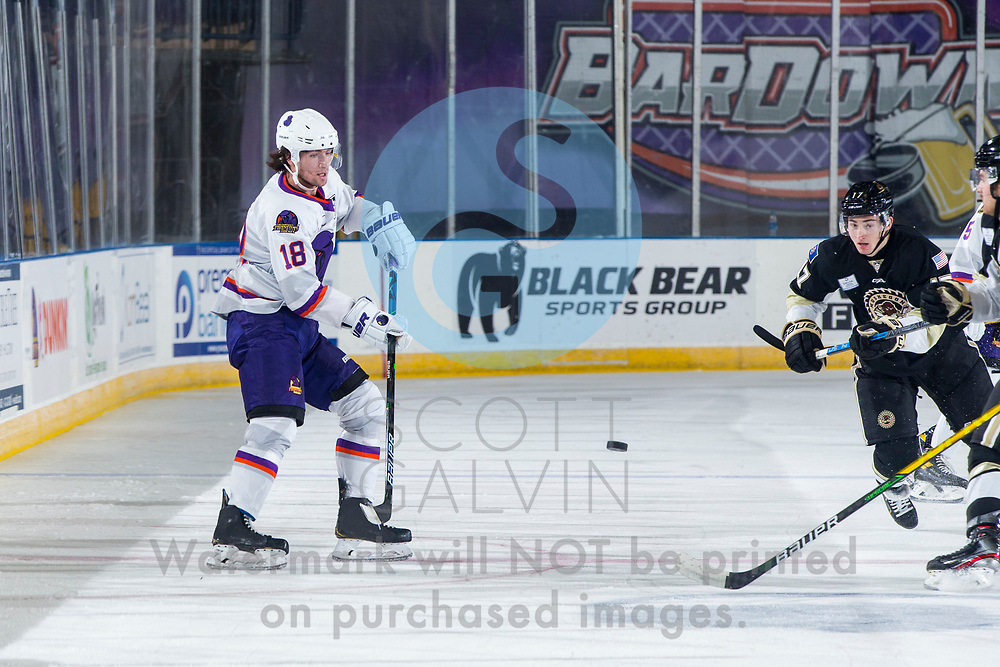 Youngstown Phantoms defeat the Muskegon Lumberjacks 4-3 in overtime at the Covelli Centre on December 5, 2020.<br /> <br /> Jack Malone, forward, 18