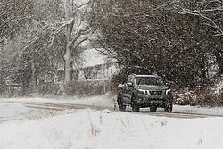 © Licensed to London News Pictures. 29/12/2020. Llanfihangel Nant Melan, Powys, Wales, UK. Motorists drive through winter weather on the A44 road near Llanfihangel Nant Melan in Powys, Wales, UK. Photo credit: Graham M. Lawrence/LNP